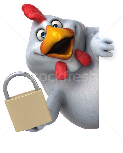 Eğlence tavuk 3d illustration dizayn kuş beyaz Stok fotoğraf © julientromeur