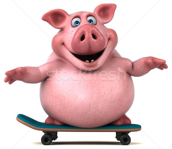 весело свинья 3d иллюстрации спорт фермы Skate Сток-фото © julientromeur
