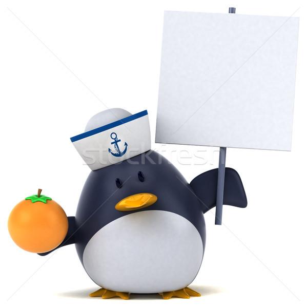 Jókedv pingvin 3d illusztráció gyümölcs narancs madár Stock fotó © julientromeur