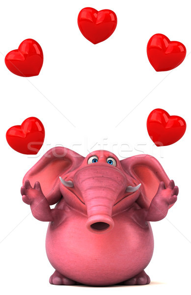 Stockfoto: Roze · olifant · 3d · illustration · liefde · hart · jungle