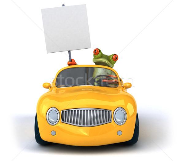 Jókedv béka fém zöld sebesség forgalom Stock fotó © julientromeur