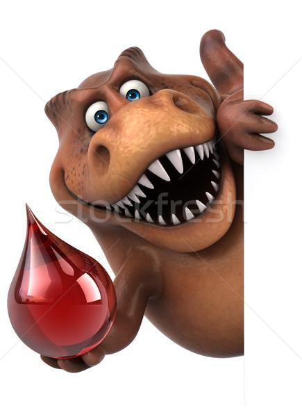 весело 3d иллюстрации красный зубов падение животного Сток-фото © julientromeur