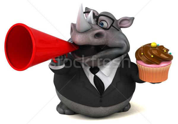 Jókedv orrszarvú 3d illusztráció csokoládé üzletember öltöny Stock fotó © julientromeur