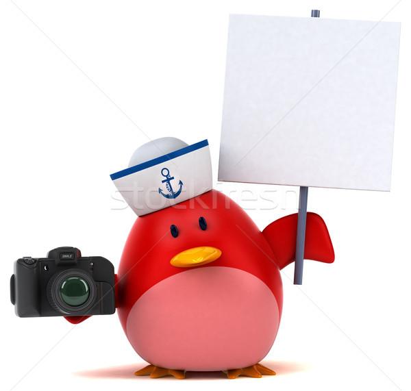 Vermelho pássaro ilustração 3d laranja peito foto Foto stock © julientromeur