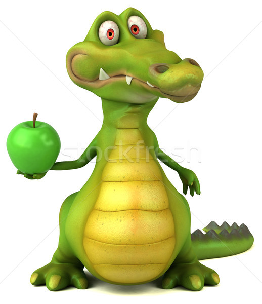 Krokodil eğlence mutlu elma dizayn meyve Stok fotoğraf © julientromeur