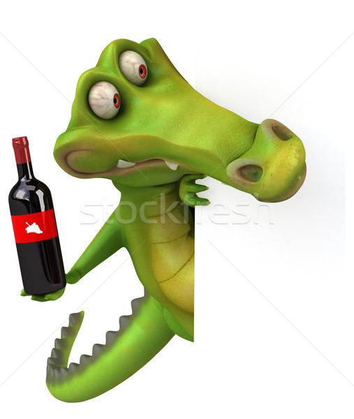 Crocodilo diversão vinho feliz projeto arte Foto stock © julientromeur