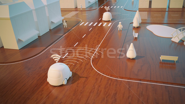 Voitures 3D animation maison voiture internet Photo stock © julientromeur