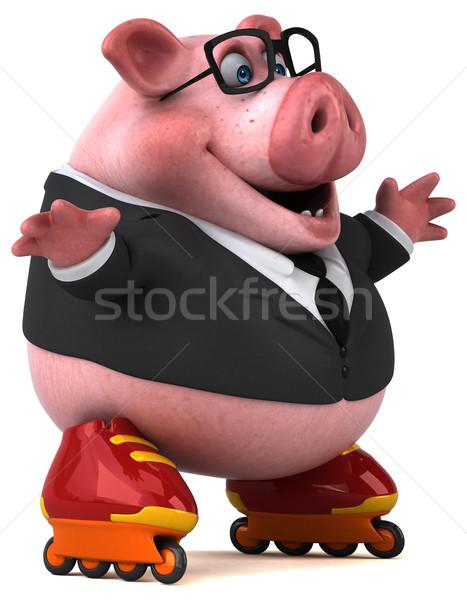 楽しい 豚 3次元の図 図書 学校 ビジネスマン ストックフォト © julientromeur