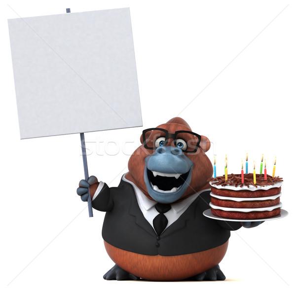 Divertimento illustrazione 3d compleanno torta candela scimmia Foto d'archivio © julientromeur