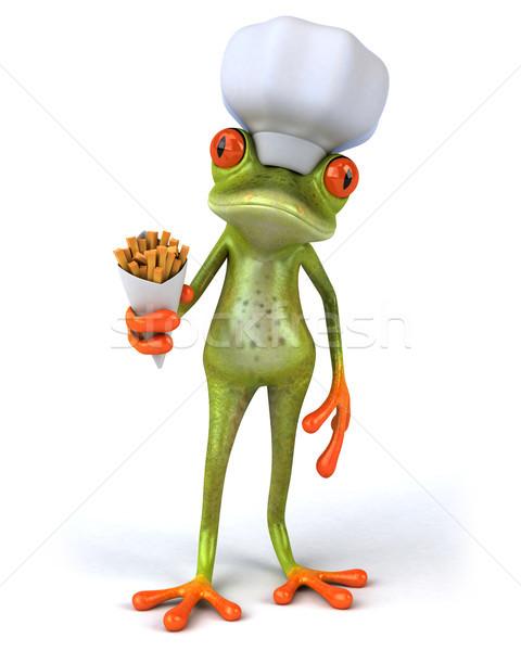 Jókedv béka zöld szakács trópusi szakács Stock fotó © julientromeur