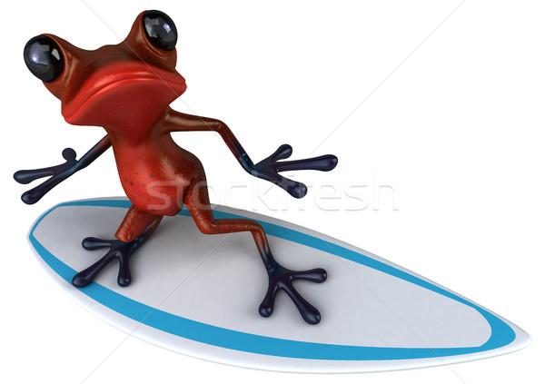 Jókedv béka szörf trópusi 3D illusztráció Stock fotó © julientromeur