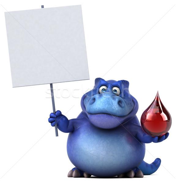 Foto stock: Diversão · dinossauro · ilustração · 3d · vermelho · dentes · cair