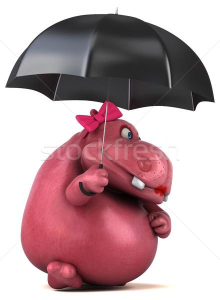 Różowy hipopotam 3d ilustracji tłuszczu zwierząt parasol Zdjęcia stock © julientromeur