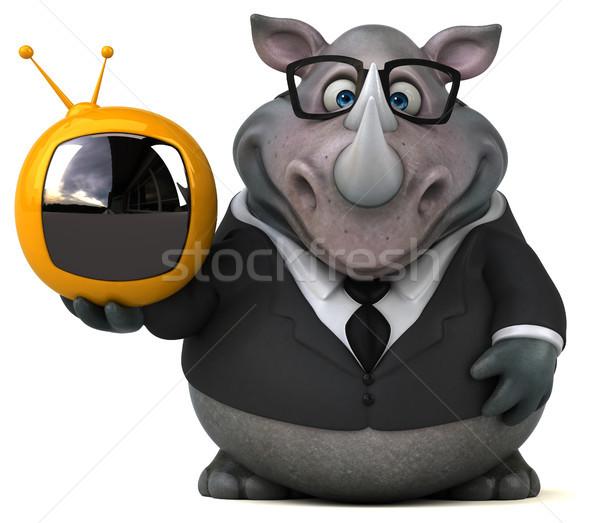 Jókedv orrszarvú 3d illusztráció üzletember öltöny képernyő Stock fotó © julientromeur