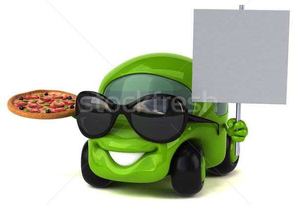 Leuk auto 3d illustration weg pizza energie Stockfoto © julientromeur