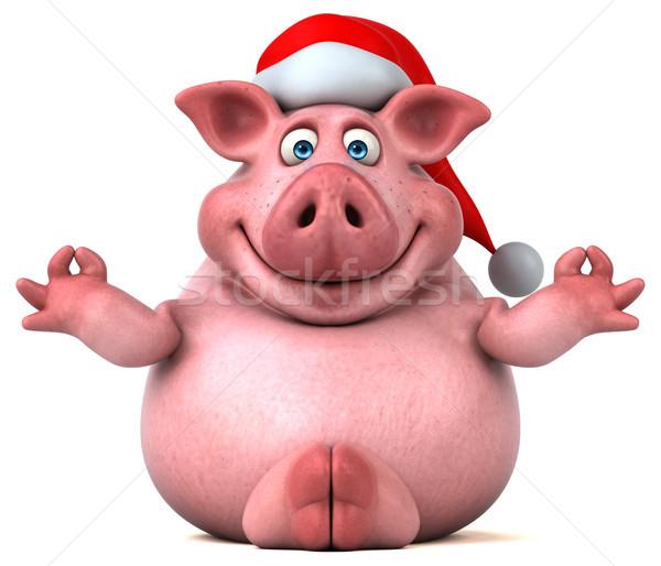Zabawy wieprzowych 3d ilustracji jogi tłuszczu christmas Zdjęcia stock © julientromeur