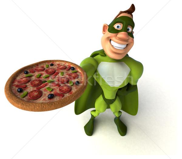 Eğlence süper kahraman adam vücut pizza hızlandırmak Stok fotoğraf © julientromeur