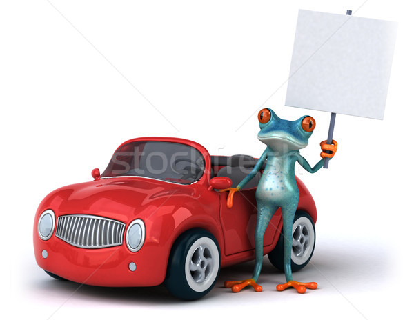Jókedv béka 3d illusztráció autó környezet illusztráció Stock fotó © julientromeur