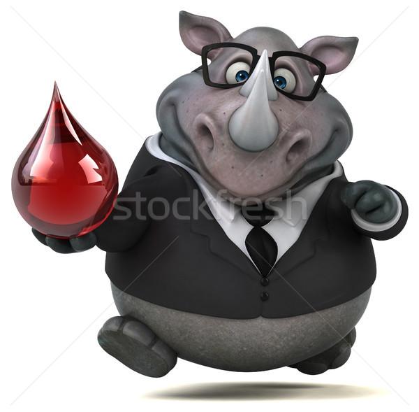 Jókedv orrszarvú 3d illusztráció vér üzletember öltöny Stock fotó © julientromeur