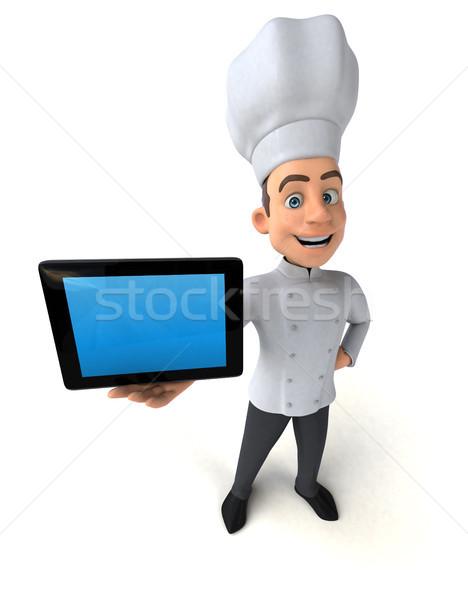 Jókedv szakács számítógép konyha fehér főzés Stock fotó © julientromeur