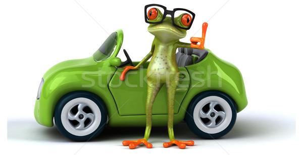 Diversão sapo metal verde acelerar tráfego Foto stock © julientromeur