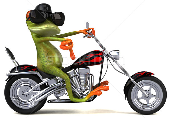 Fun frog on a motorcycle - 3D Illustration Stock photo © julientromeur