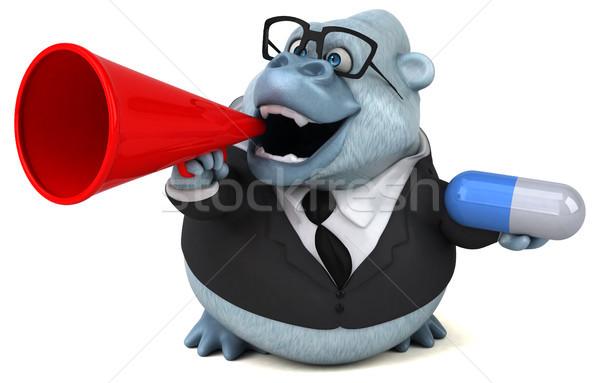 Zabawy biały małpa 3d ilustracji charakter biznesmen Zdjęcia stock © julientromeur