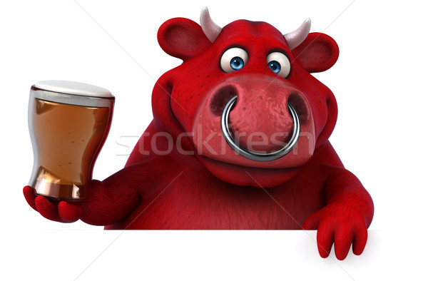 赤 牛 3次元の図 髪 牛 ドリンク ストックフォト © julientromeur