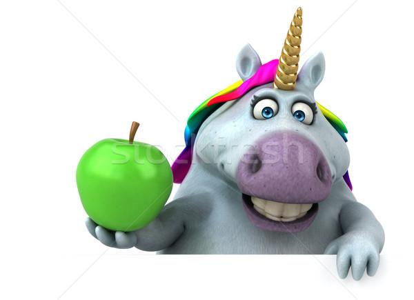 весело 3d иллюстрации яблоко дизайна зеленый радуга Сток-фото © julientromeur