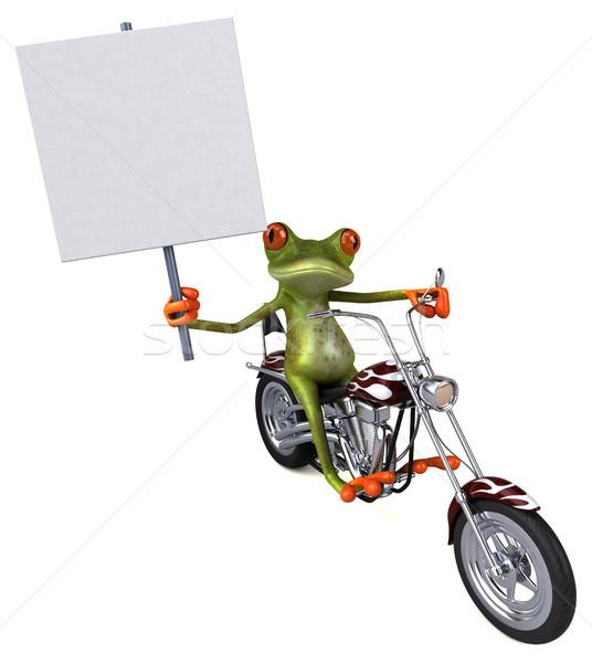 Eğlence kurbağa motosiklet 3d illustration dizayn seyahat Stok fotoğraf © julientromeur