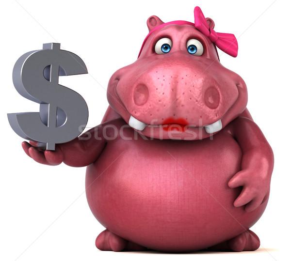 Rózsaszín víziló 3d illusztráció pénz jókedv pénzügy Stock fotó © julientromeur