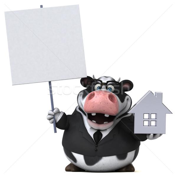 Diversão vaca ilustração 3d casa empresário terno Foto stock © julientromeur