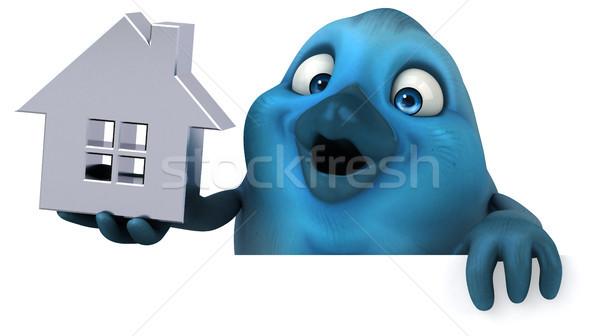 Blauw vogel huis home communicatie cartoon Stockfoto © julientromeur