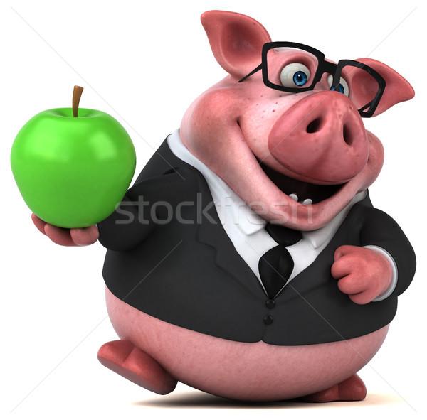 Zabawy wieprzowych 3d ilustracji jabłko garnitur gospodarstwa Zdjęcia stock © julientromeur