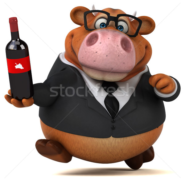 весело корова 3d иллюстрации очки пить костюм Сток-фото © julientromeur