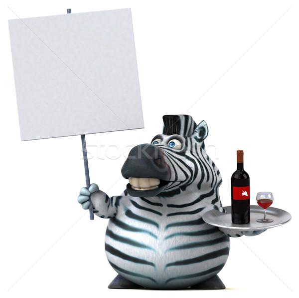 Eğlence zebra 3d illustration içmek Afrika hayvan Stok fotoğraf © julientromeur