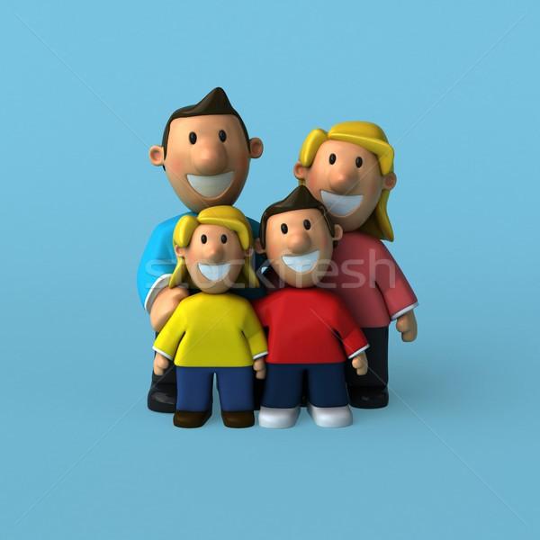 Aile 3d illustration kız çocuklar sevmek adam Stok fotoğraf © julientromeur
