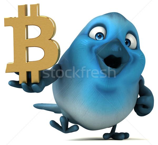 Zabawy ptaków 3d ilustracji niebieski finansów łańcucha Zdjęcia stock © julientromeur