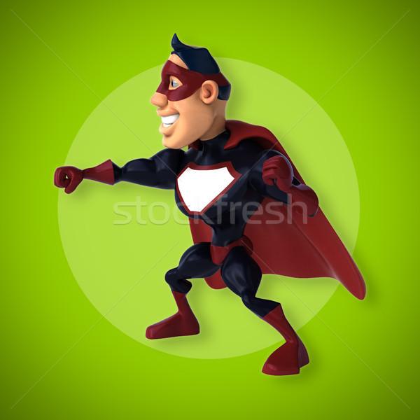 ストックフォト: 楽しい · スーパーヒーロー · 3次元の図 · ボディ · 青 · 速度