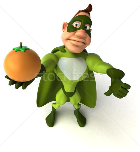 Zabawy superhero człowiek ciało owoców pomarańczowy Zdjęcia stock © julientromeur