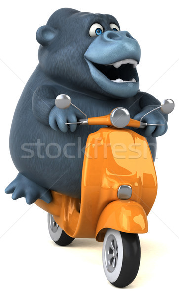 Leuk gorilla 3d illustration model fiets stedelijke Stockfoto © julientromeur