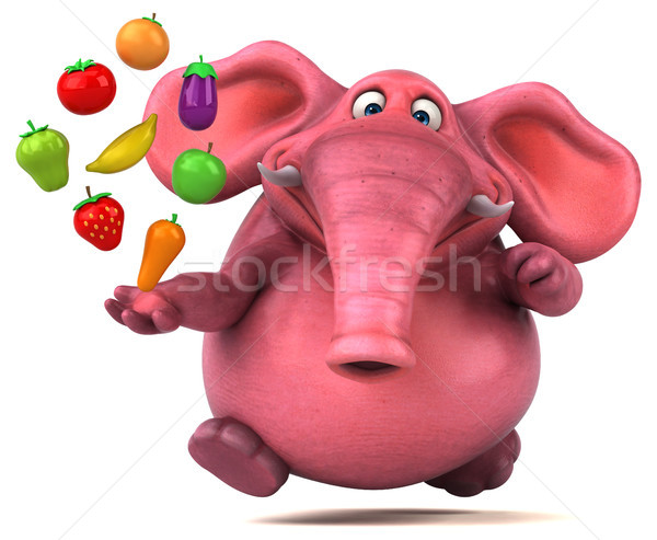 Rózsaszín elefánt 3d illusztráció narancs banán dzsungel Stock fotó © julientromeur
