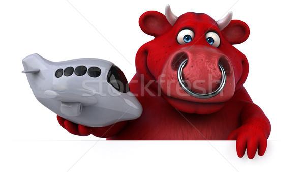 Vermelho touro ilustração 3d cabelo vaca avião Foto stock © julientromeur