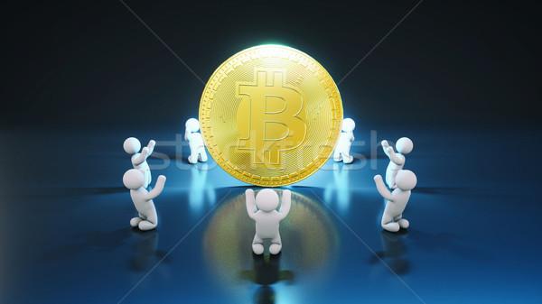 Bitcoin tifosi illustrazione 3d internet schermo finanziare Foto d'archivio © julientromeur