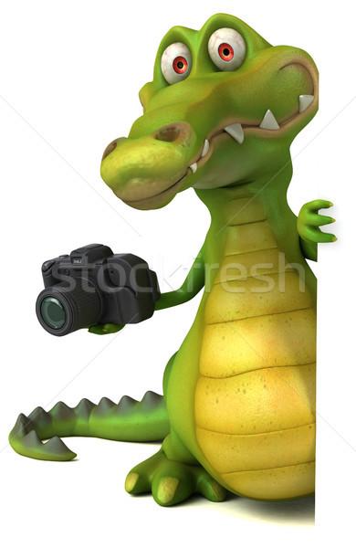 Сток-фото: крокодила · весело · счастливым · дизайна · искусства · рот