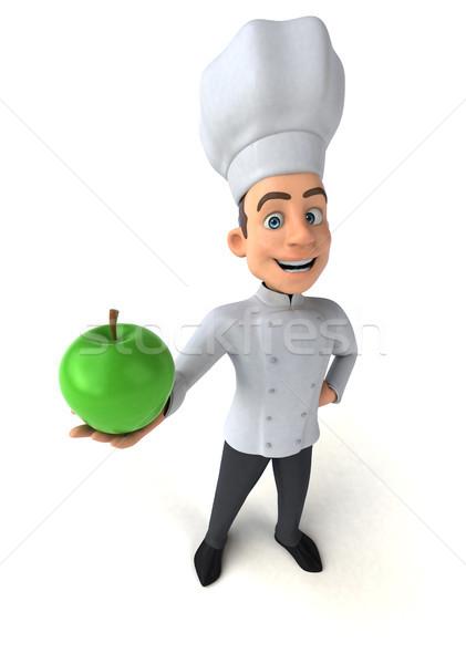 Jókedv szakács gyümölcs konyha fehér főzés Stock fotó © julientromeur