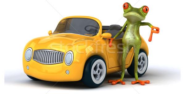 Eğlence kurbağa Metal yeşil hızlandırmak trafik Stok fotoğraf © julientromeur