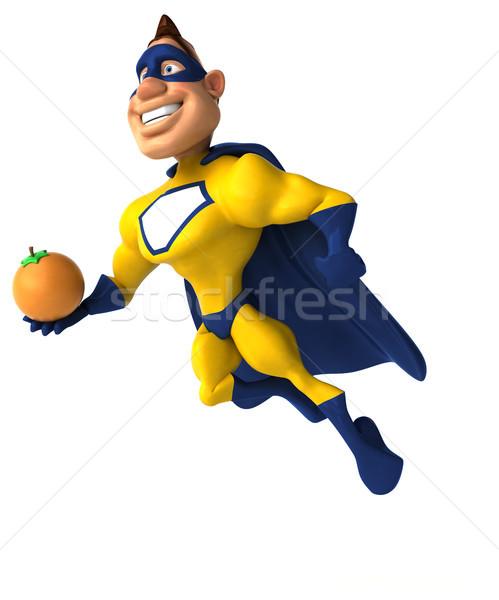 весело superhero человека тело фрукты оранжевый Сток-фото © julientromeur