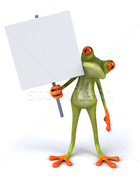Frog with a blank sign Stock photo © julientromeur