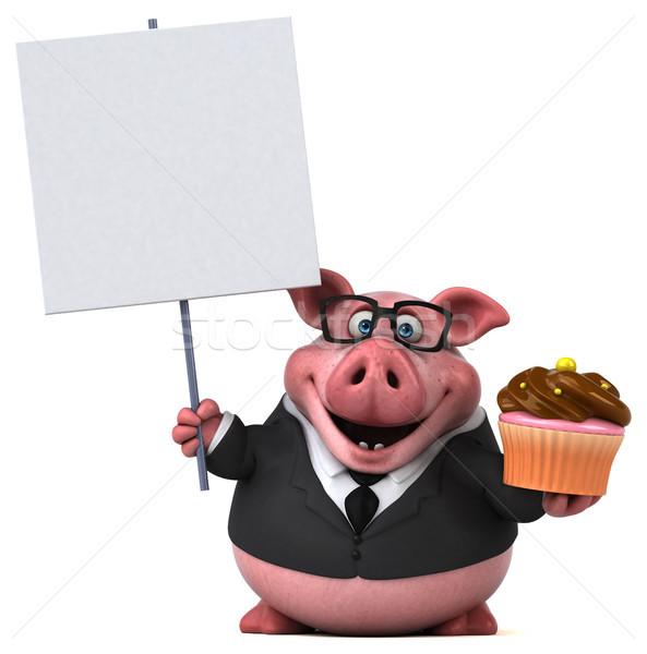 Stok fotoğraf: Eğlence · domuz · 3d · illustration · çikolata · işadamı · takım · elbise